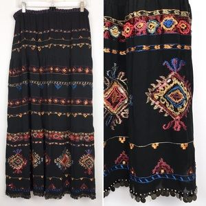 Chico's Tiered Embroidered Beaded Gypsy Skirt Coin